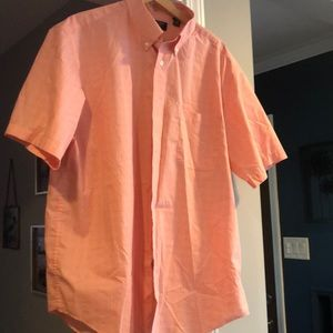 Pink and white travel smart plaid button down